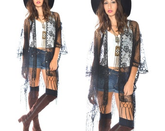 Sheer Lace Sequins Fringe Kimono Cocktail Party Kimono Black Jacket