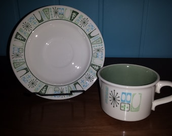 Taylor Smith and Taylor Taylorstone Atomic #COFFEE CUP and SAUCER retro green anf turquoise 1960s Mad Men era