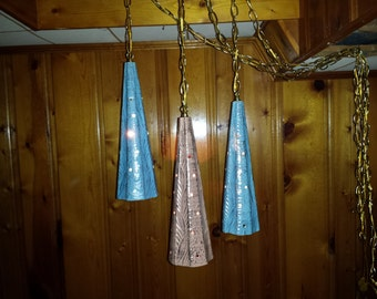 RARE Set of 3 #Atomic era SWAG LIGHTS turquoise and pink ceramic pierced cone shades 1950s mid century modern