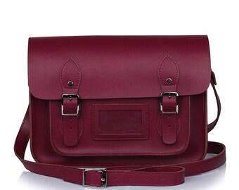 Medium Burgundy Leather Satchel