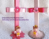 Wood Cross with angel. Cake topper, Decor, Favor, Kids party, Baptism, Confirmation, Christianity, 1st communion.