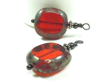 Red Table Cut Charms with Picasso Edges, Red/Orange, Window Cut Bead Dangles, 2 or 4