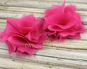 """Hot Pink Satin & Tulle Flowers 4"""" - Layered Rosette Large Flowers 4 inches"""