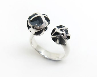 Sterling silver 3D printed open ring, geometric oxidized silver ring - Negative/Positive collection