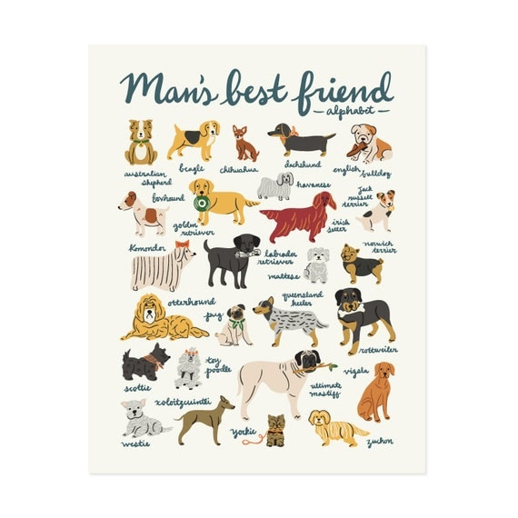 Mans Best Friend Alphabet Art Print 11x14