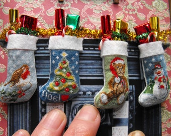 SALE!!!1:12 scale Dolls house Tapestry Christmas stocking KITS