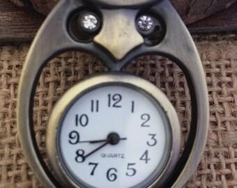1pcs 32mmx42mm Bronze color Owl pocket watch charms pendant