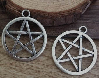 10pieces  28×24mm Star Charm --Antique silver pendant  Jewelry Findings