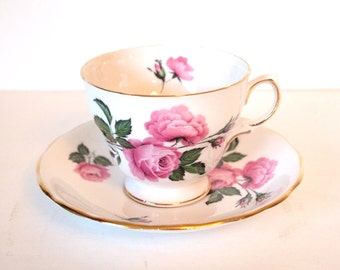 Vintage Teacup Set English China Tea Cup with Pink Roses - Royal Vale Ridgway Potteries - Mid Century- England Shabby Cottage Chic