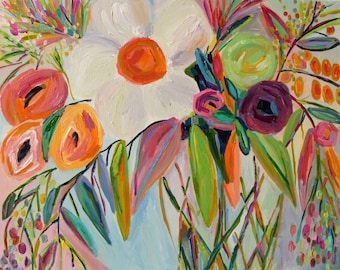 """Fine Art PRINT, Large Still Life, Abstract Flowers, Colorful Bouquet with Orange and Violet by Carolyn Shultz """"Stella"""""""
