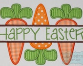 Split Carrot Trio Happy Easter Machine Embroidery Applique Design