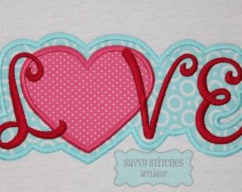 LOVE Machine Embroidery Applique Design