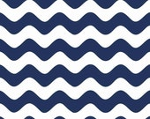 """Riley Blake Wave Fabric/Navy Blue and White Wave/Basic Fabric/2-1/2"""" from Wave to Wave/Quilt, Clothing, Craft/Fat Quarter, Half Yard, 1 Yard"""