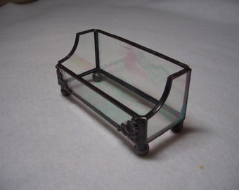 Iridescent Clear Baroque Stained Glass Business Card Holder