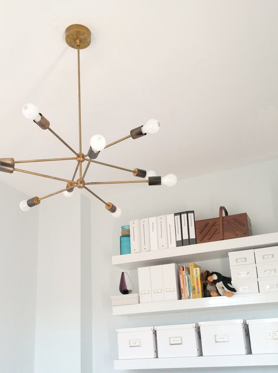 2 Tiered Sputnik chandelier / hanging light / pendant light made of brass or finished in your color of choice