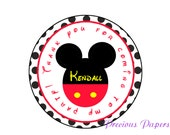 20 Mickey Birthday Stickers Mickey Mouse Party Favor Round Labels - Mickey Mouse Polka dot stickers
