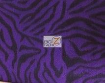 "Purple Zebra Print Polar Fleece Fabric 60"" Width Sold By The Yard (4)"