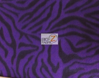 "Purple Zebra Print Polar Fleece Fabric 60"" Width Sold By The Yard (4)"