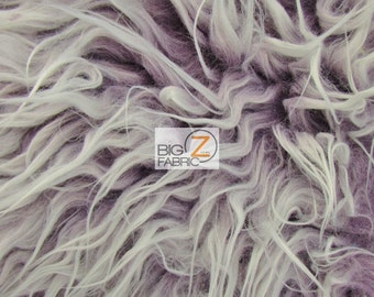 "Frosted Shaggy Mongolian Faux Fur Fabric - PLUM- Sold By The Yard 60"" Width"
