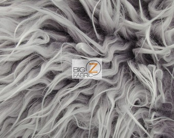 """Frosted Shaggy Mongolian Faux Fur Fabric - CHARCOAL - Sold By The Yard 60"""" Width"""