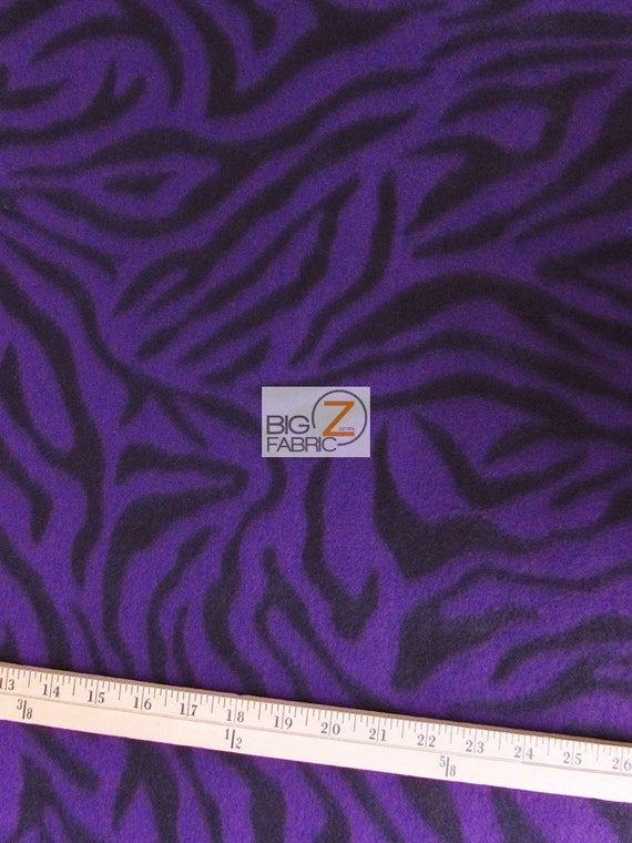 Purple Zebra Print Polar Fleece Fabric 60 Width Sold By