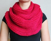 Knitted wild berry woman infinity scarf