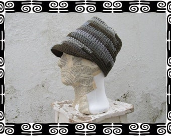 Rasta Tube Dread Headband with brim olive & grey lined Size L