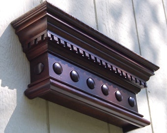 Stained Wooden Wall Shelf - Crown Molding Shelf - Small Decorative Floating Shelf