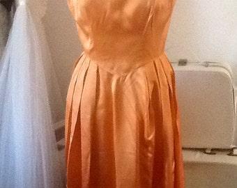 Beautiful Vintage 1950's Tangerine Orange Satin Dress, Scalloped edge