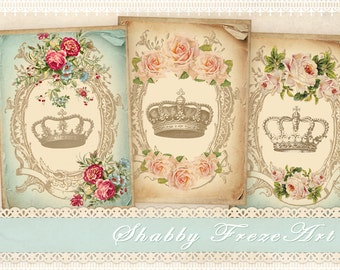 Vintage crown Greeting cards Gift cards tags on Digital collage sheet Printable download