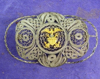 WW11 Navy Brooch sweetheart jewelry silver filigree gold Eagle anchor military insignia