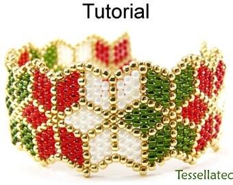 Beading Tutorial Pattern Bracelet - Brick Stitch Christmas Poinsettia Autumn Leaf Bracelet - Simple Bead Patterns - Tessellated #10068