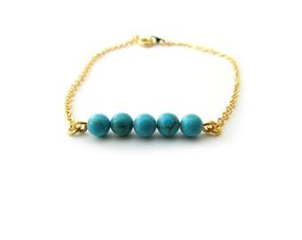 Turquoise Gold Bracelet, Dainty Gold Bracelet, Turquoise bead bracelet, Bridesmaid Bracelet, Blue Bridal Bracelet, Dainty Bar Bracelet