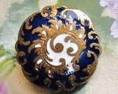 Antique button, Art Nouveau, champleve enamel, botanical influence, blue & white. E.M. Paris, c1890-1910.