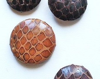 Reptile buttons, vintage, 4 different examples of reptile skin or hide. 3 pad backs, 1 metal back. c1930's to 40's.