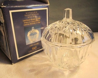 Crystal Trinket Box Keepsake container Lidded Boxed Crystal Sparkling Crystal  Boxed Gift Idea Crystal  Hostess Gift
