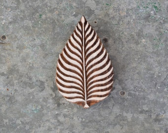 Wood block stamp Leaf nature organic printing stencil traditional crafted Indian henna carved wooden block fern forest woodland