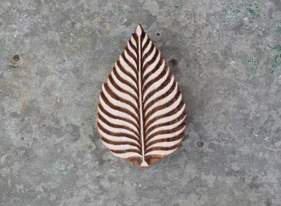 Wood block stamp leaf nature organic printing stencil