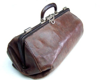 Antique French doctor bag brown leather