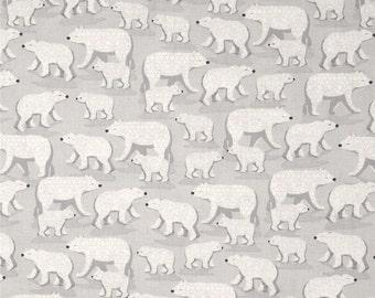 Winter Frost Polar Bear fabric - white gray - Henry Glass - YARD