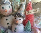 Winter Friends Snowmen Crate Box with Glitter  Pink Teal Bottle Brush Trees Christmas Decoration