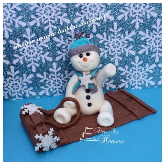 Etsy Christmas Cake Decorations : Items similar to SNOWMAN CAKE TOPPER Snowman Christmas ...