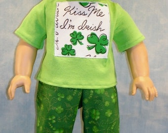 18 Inch Doll Clothes - Kiss Me I'm Irish St. Patrick's Day Pants Outfit made to fit 18 inch dolls