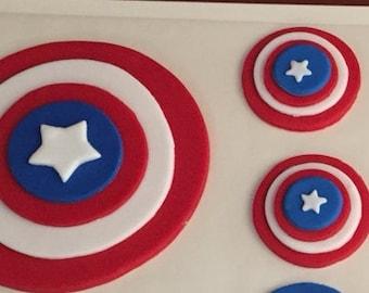 Captain  America Shield Inspired Superhero fondant cake topper