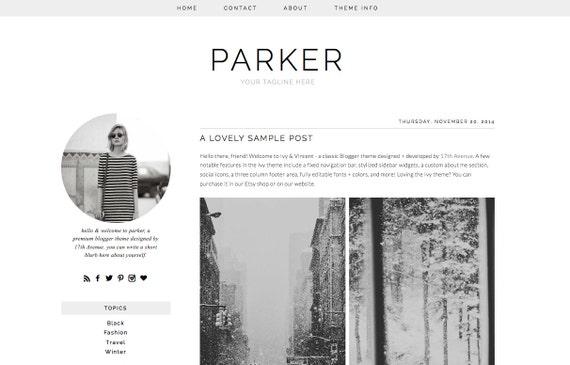 Blogger template premade blog design parker for Minimalist living by genevieve parker hill
