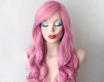 Pastel Blush Pink wig. Mauve Pink wig. Pastel Blush pink color long curly hairstyle durable synthetic wig for daytime use or Cosplay