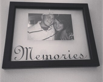 "8 x 10 floating frame with the word, ""memories""."