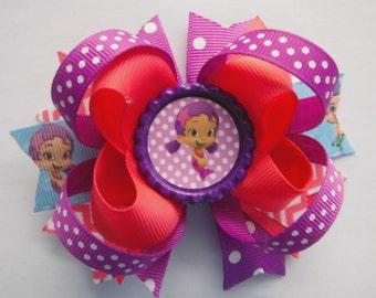 Oona Bubble Guppies Bow - Bubble Guppies Bow - Oona Stacked Bow - Oona Bow - Bibble Guppies Party Favor - Bubble Guppies Birthday