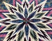 Feathered Star in Shades of Purple, Blues, Greens and Rose Wall Hanging or Generous Sized Lap Quilt