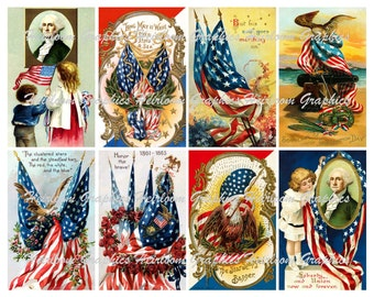 Fourth of July  Download  Vintage Patriotic July 4th Postcard Digital Download